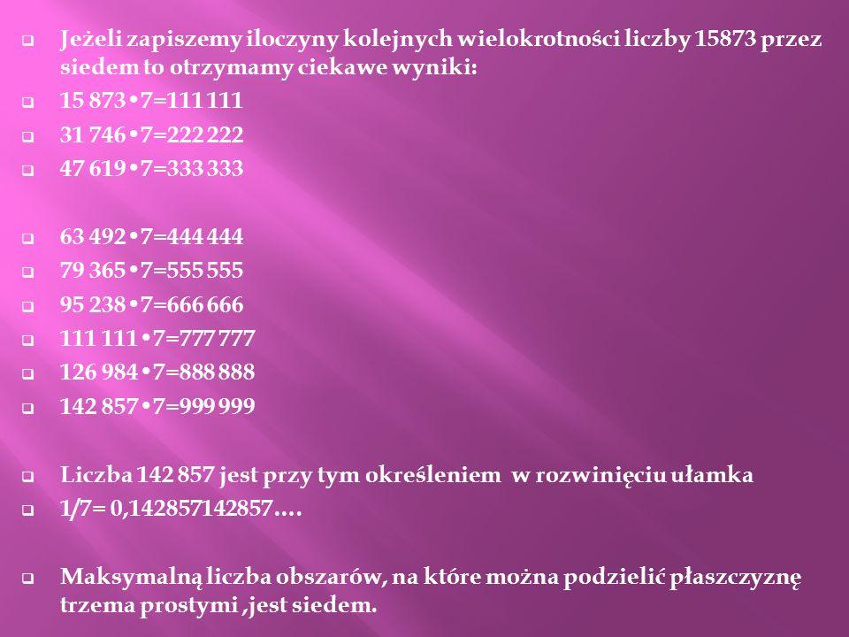Jeżeli zapiszemy iloczyny kolejnych wielokrotności liczby 15873 przez siedem to otrzymamy ciekawe wyniki: