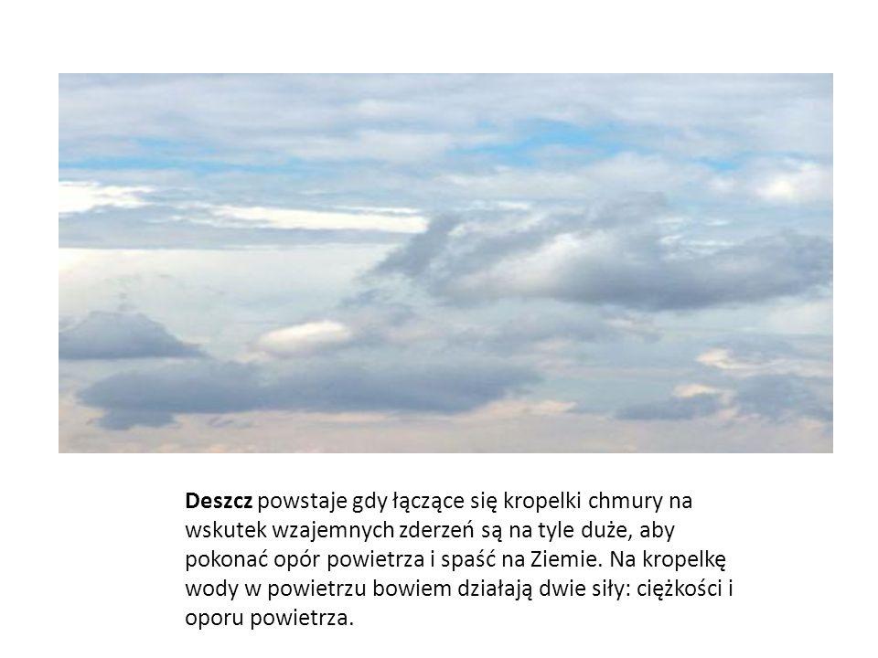 Deszcz powstaje gdy łączące się kropelki chmury na wskutek wzajemnych zderzeń są na tyle duże, aby pokonać opór powietrza i spaść na Ziemie.