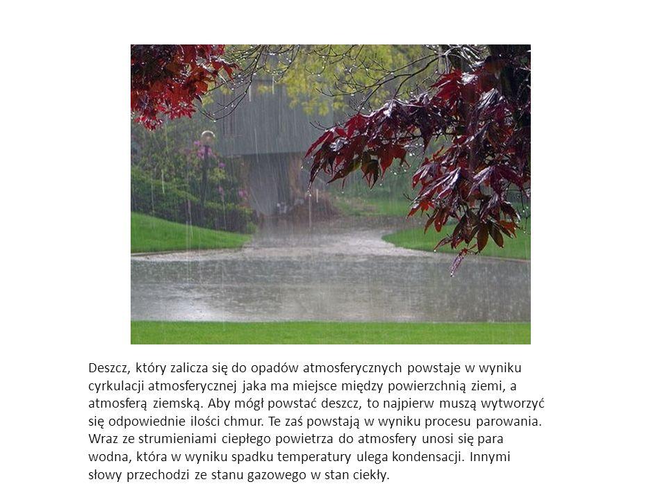 Deszcz, który zalicza się do opadów atmosferycznych powstaje w wyniku cyrkulacji atmosferycznej jaka ma miejsce między powierzchnią ziemi, a atmosferą ziemską.