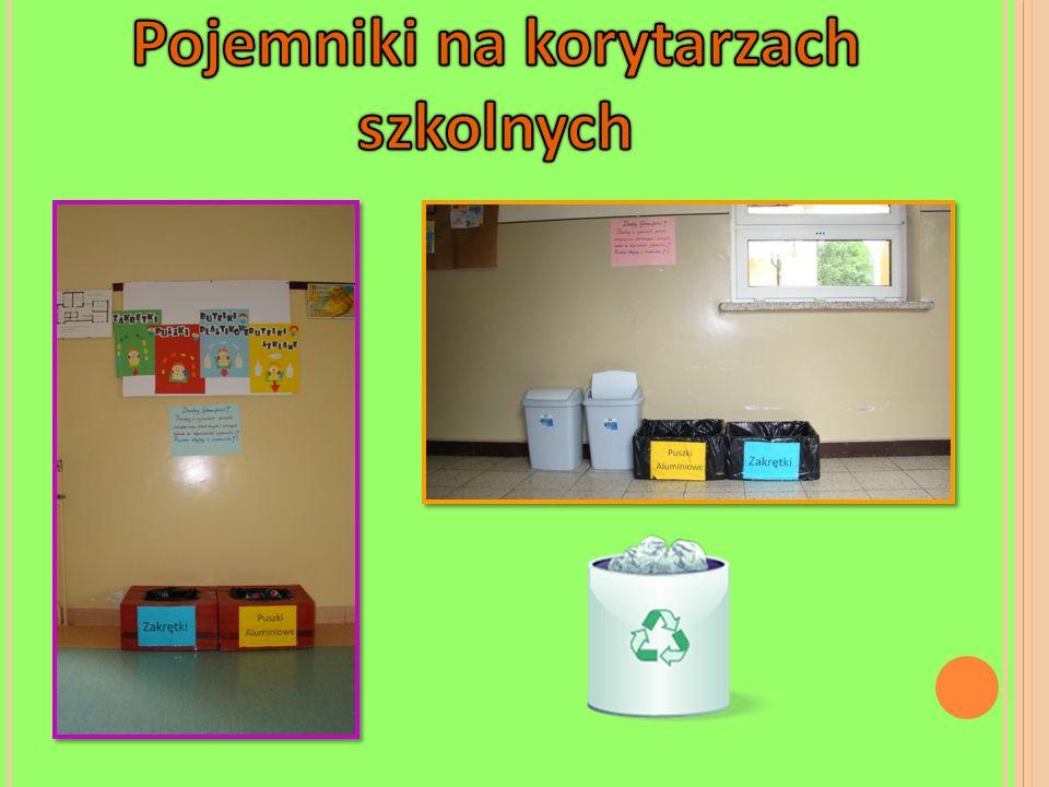 Pojemniki na korytarzach szkolnych