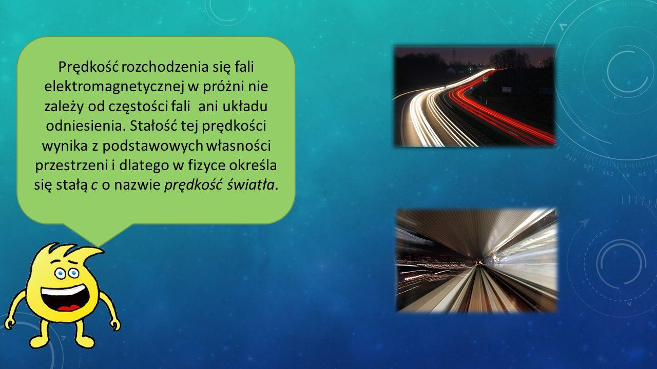 Prędkość rozchodzenia się fali elektromagnetycznej w próżni nie zależy od częstości fali ani układu odniesienia.
