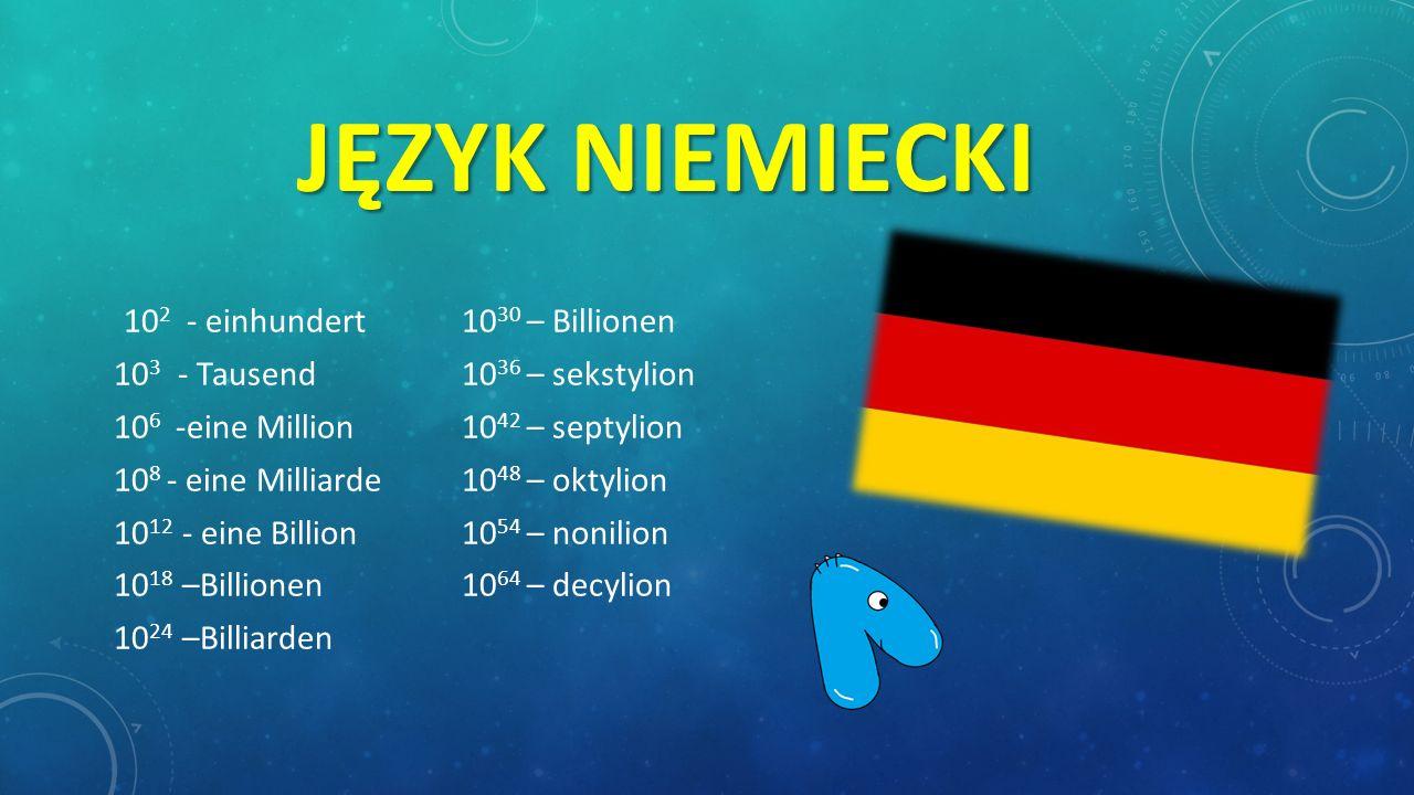 Język niemiecki 103 - Tausend 1036 – sekstylion
