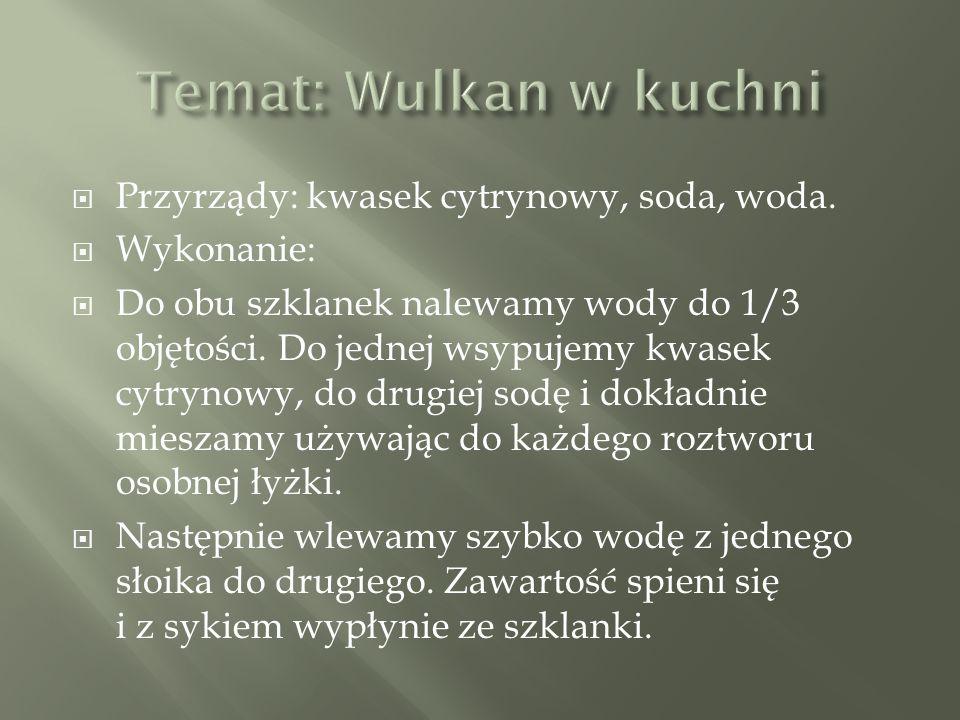 Temat: Wulkan w kuchni Przyrządy: kwasek cytrynowy, soda, woda.
