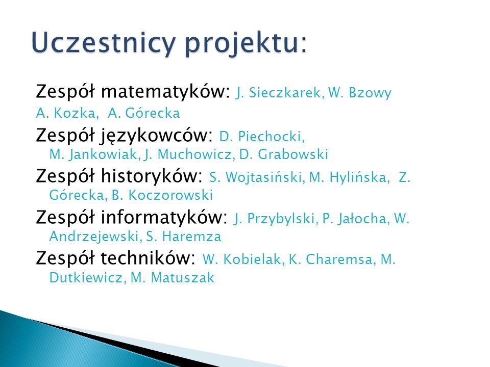 Uczestnicy projektu: Zespół matematyków: J. Sieczkarek, W. Bzowy