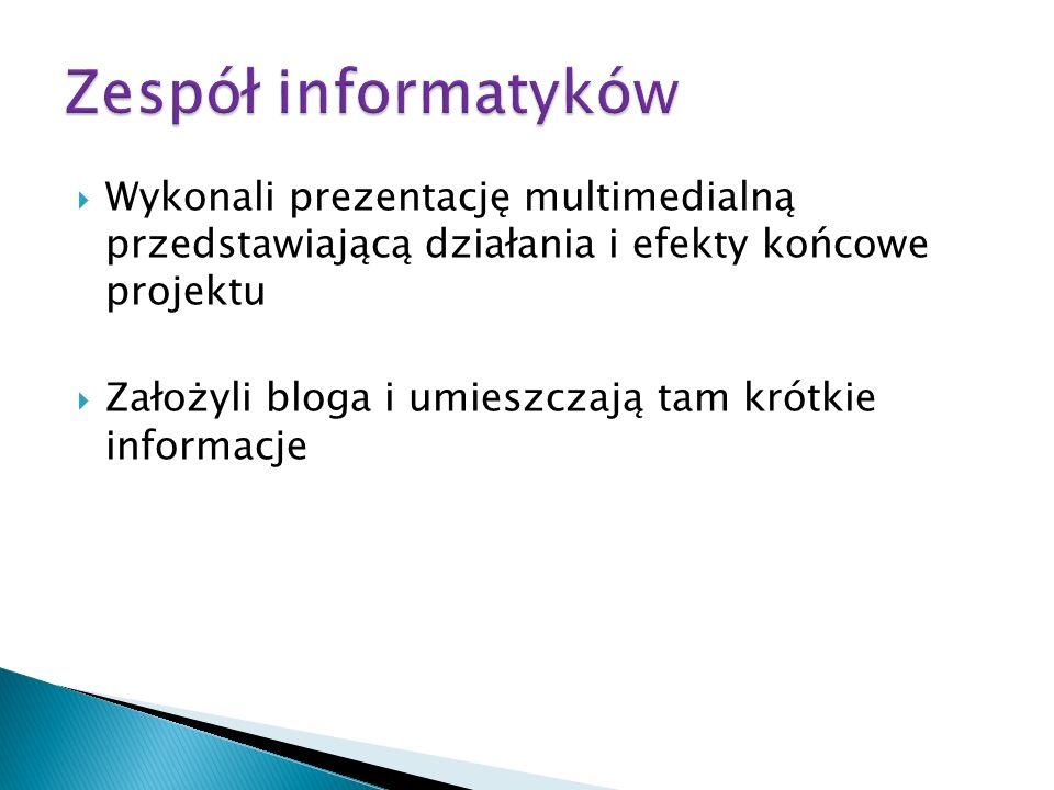 Zespół informatyków Wykonali prezentację multimedialną przedstawiającą działania i efekty końcowe projektu.