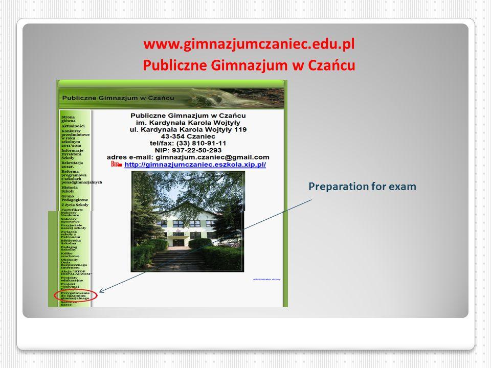 www.gimnazjumczaniec.edu.pl Publiczne Gimnazjum w Czańcu