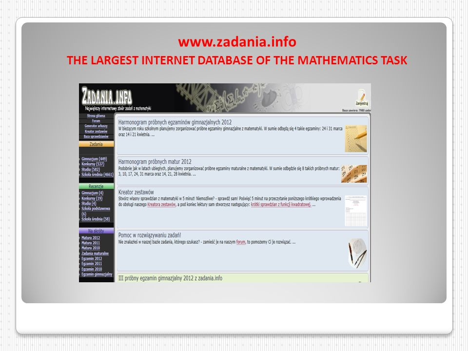 THE LARGEST INTERNET DATABASE OF THE MATHEMATICS TASK