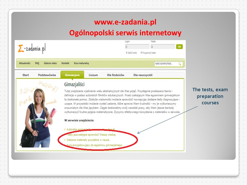 www.e-zadania.pl Ogólnopolski serwis internetowy