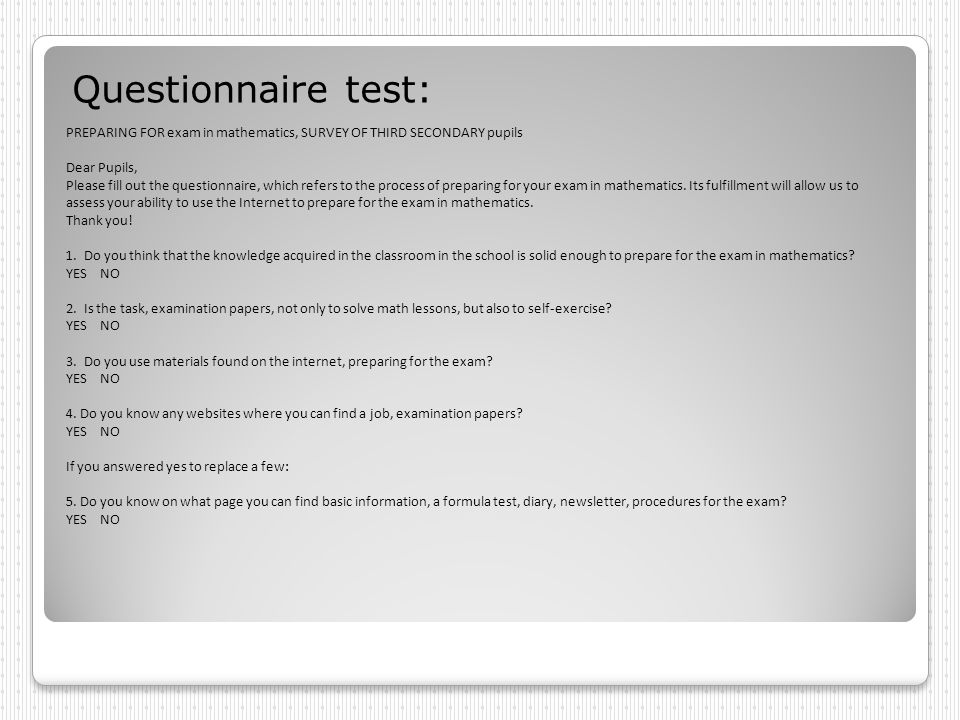 Questionnaire test: