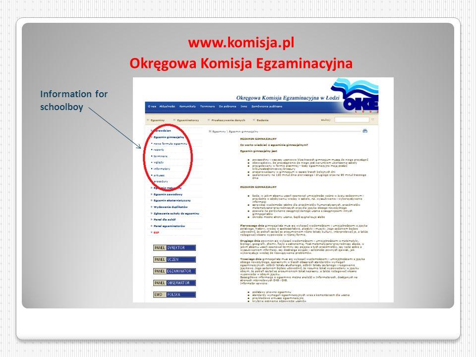 www.komisja.pl Okręgowa Komisja Egzaminacyjna