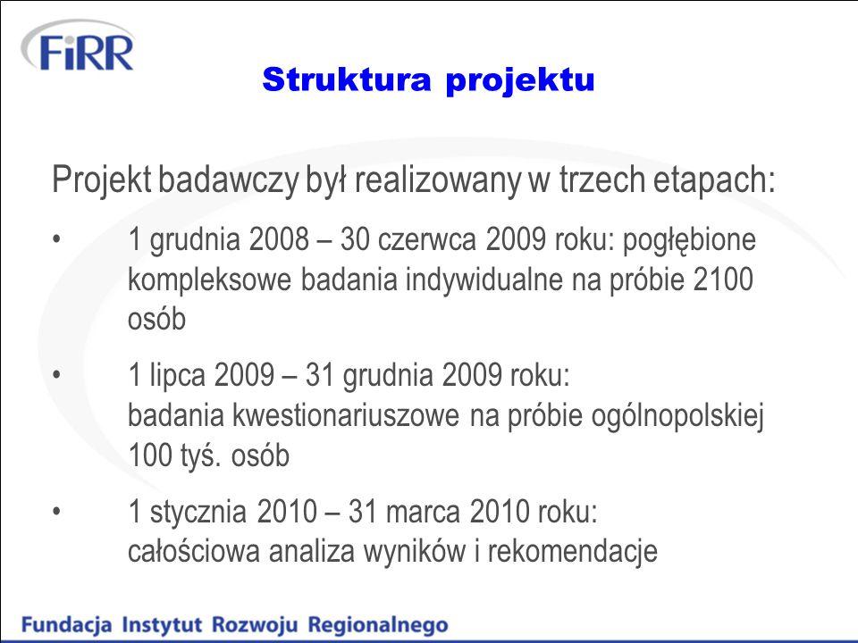 Projekt badawczy był realizowany w trzech etapach: