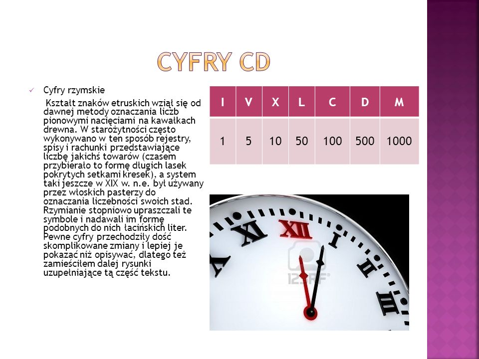 Cyfry Cd I V X L C D M 1 5 10 50 100 500 1000 Cyfry rzymskie