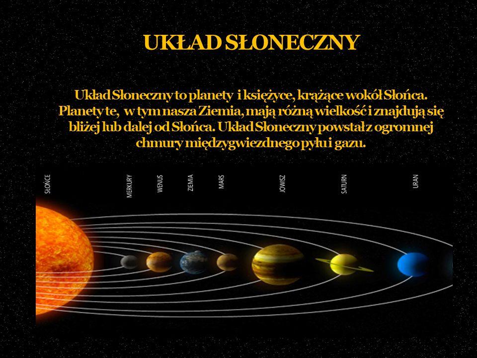 UKŁAD SŁONECZNY Układ Słoneczny to planety i księżyce, krążące wokół Słońca.