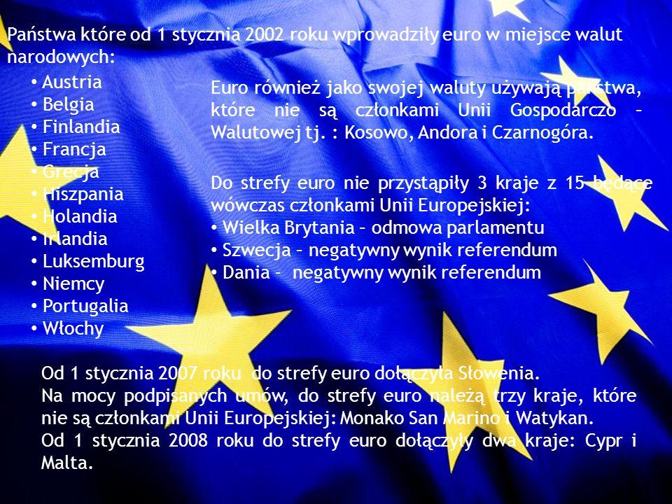 Państwa które od 1 stycznia 2002 roku wprowadziły euro w miejsce walut narodowych: