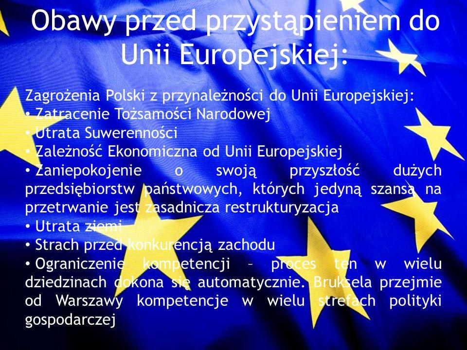 Obawy przed przystąpieniem do Unii Europejskiej: