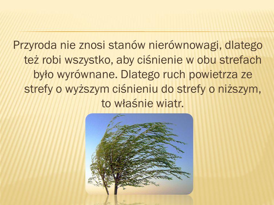 Przyroda nie znosi stanów nierównowagi, dlatego też robi wszystko, aby ciśnienie w obu strefach było wyrównane.