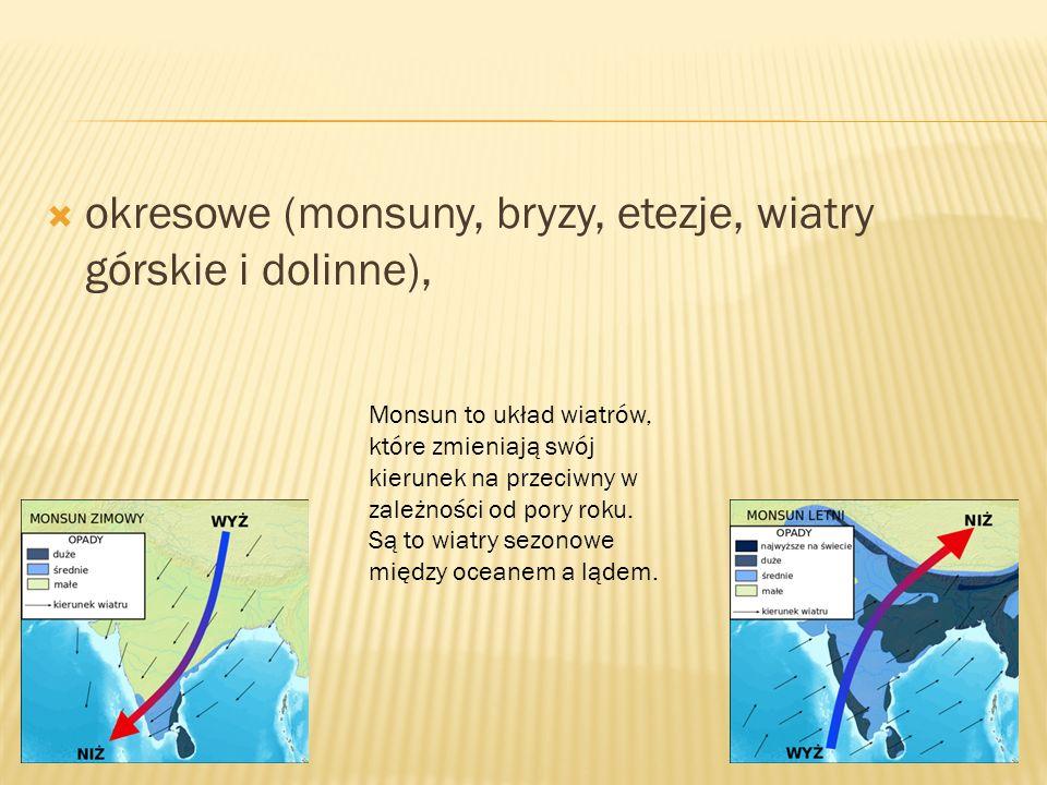 okresowe (monsuny, bryzy, etezje, wiatry górskie i dolinne),