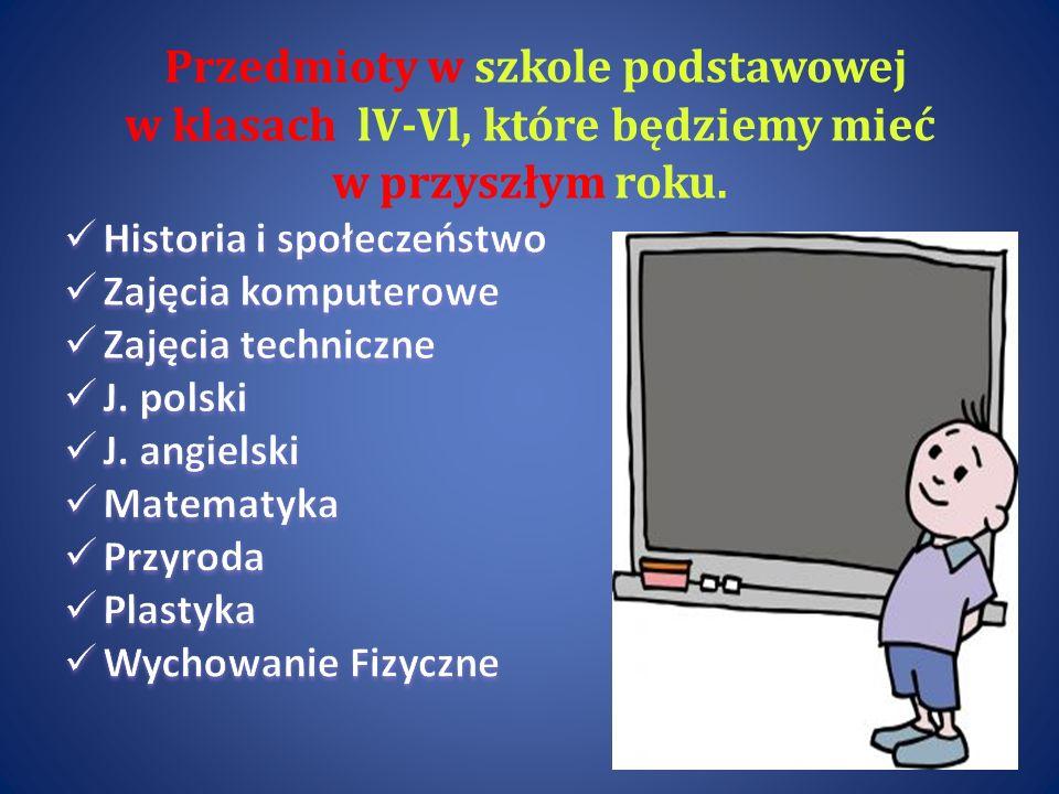 Przedmioty w szkole podstawowej w klasach lV-Vl, które będziemy mieć w przyszłym roku.