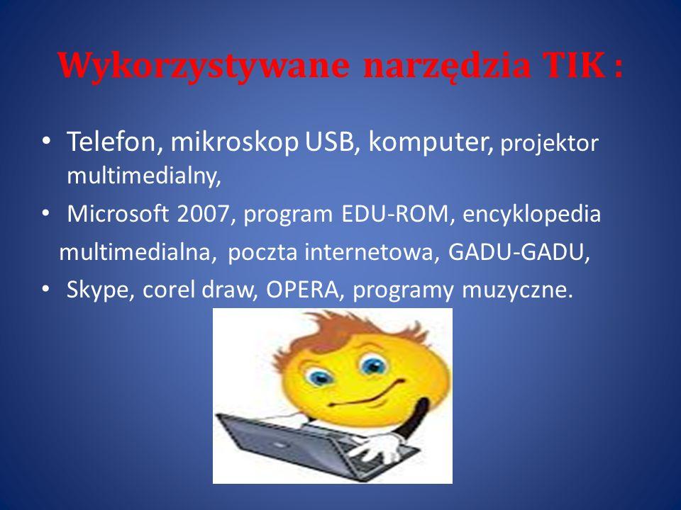 Wykorzystywane narzędzia TIK :