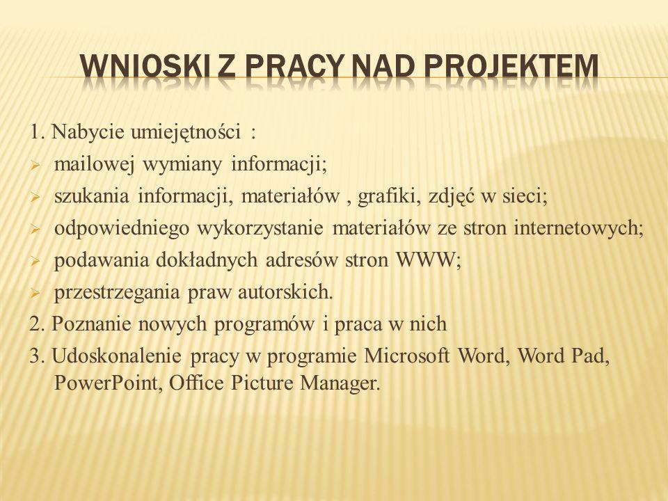 Wnioski z pracy nad projektem