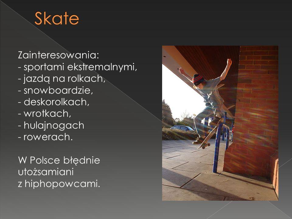 Skate Zainteresowania: - sportami ekstremalnymi, - jazdą na rolkach,