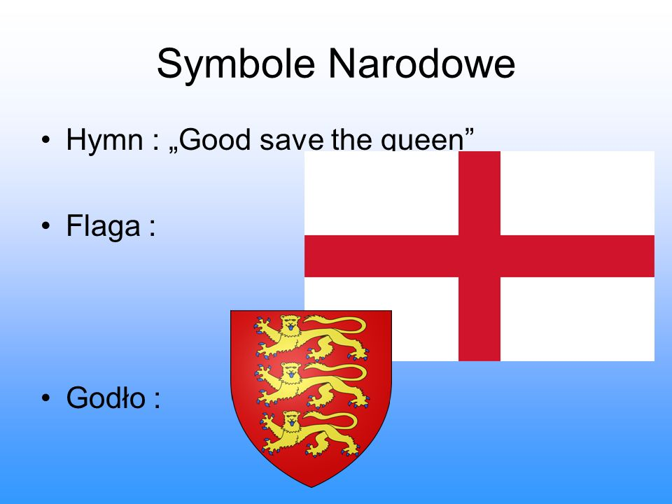 "Symbole Narodowe Hymn : ""Good save the queen Flaga : Godło :"