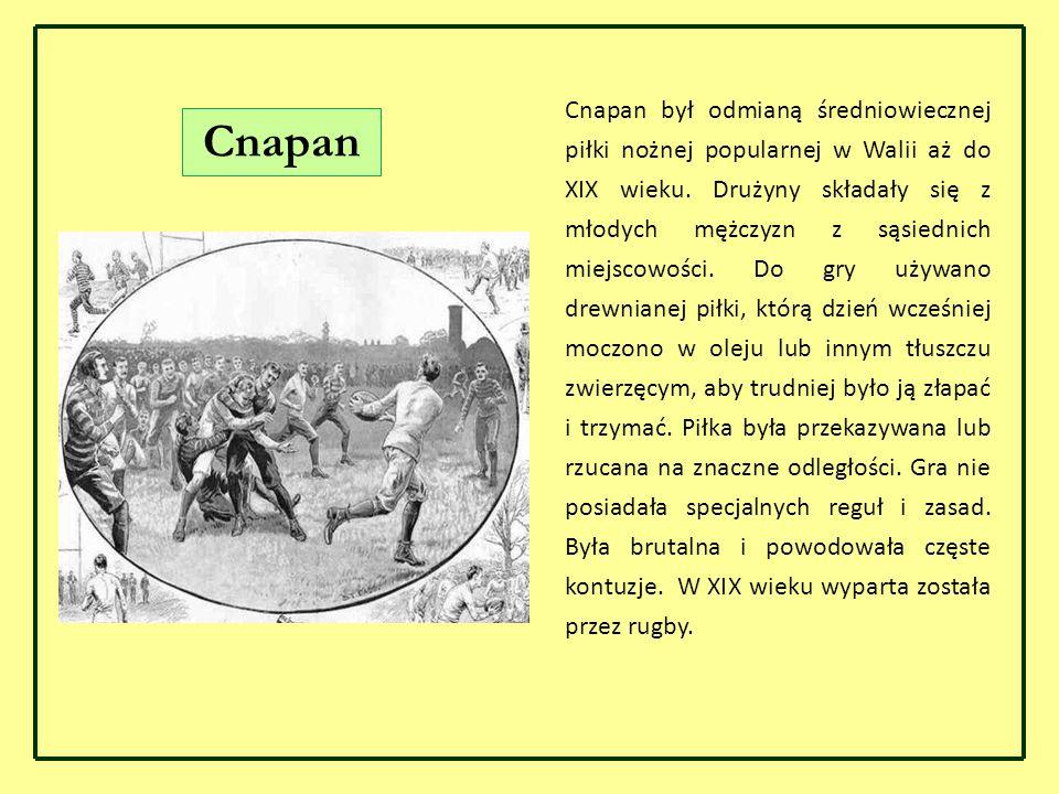 Cnapan był odmianą średniowiecznej piłki nożnej popularnej w Walii aż do XIX wieku. Drużyny składały się z młodych mężczyzn z sąsiednich miejscowości. Do gry używano drewnianej piłki, którą dzień wcześniej moczono w oleju lub innym tłuszczu zwierzęcym, aby trudniej było ją złapać i trzymać. Piłka była przekazywana lub rzucana na znaczne odległości. Gra nie posiadała specjalnych reguł i zasad. Była brutalna i powodowała częste kontuzje. W XIX wieku wyparta została przez rugby.