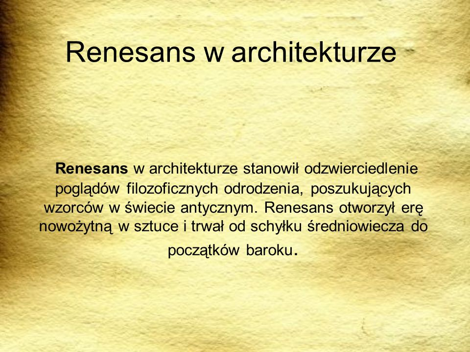 Renesans w architekturze