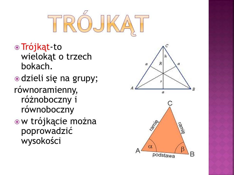 TRÓJKĄT Trójkąt-to wielokąt o trzech bokach. dzieli się na grupy;