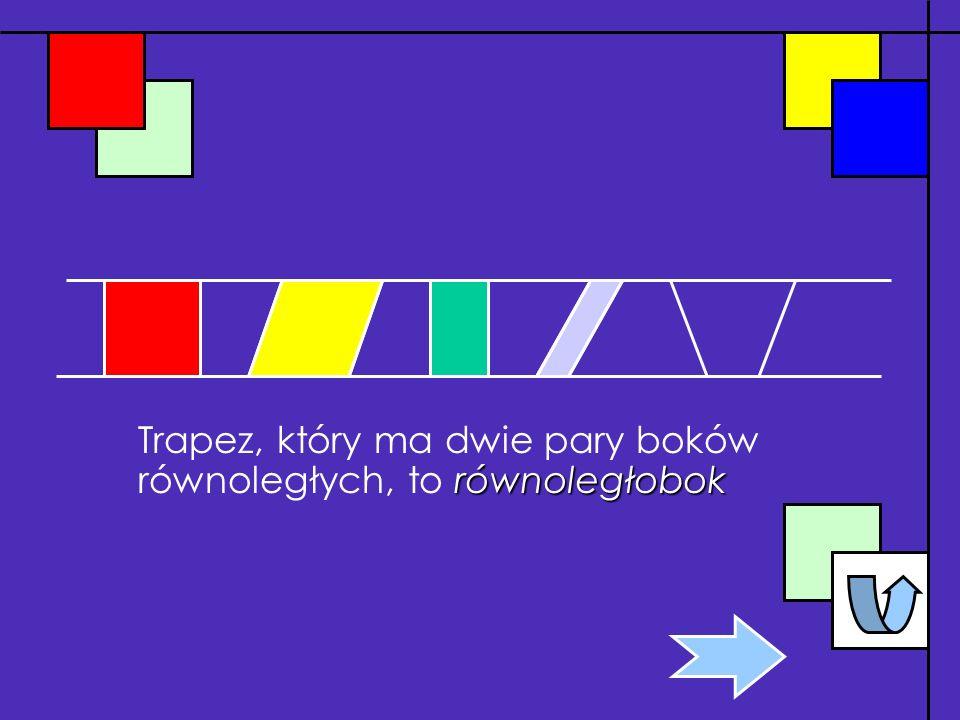 Trapez, który ma dwie pary boków równoległych, to równoległobok
