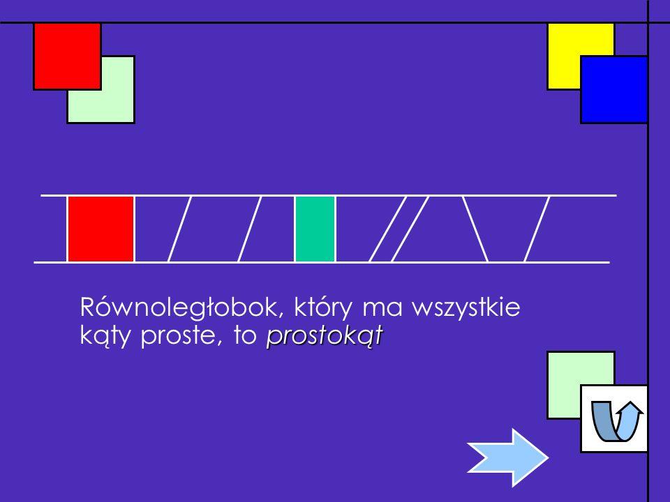 Równoległobok, który ma wszystkie kąty proste, to prostokąt