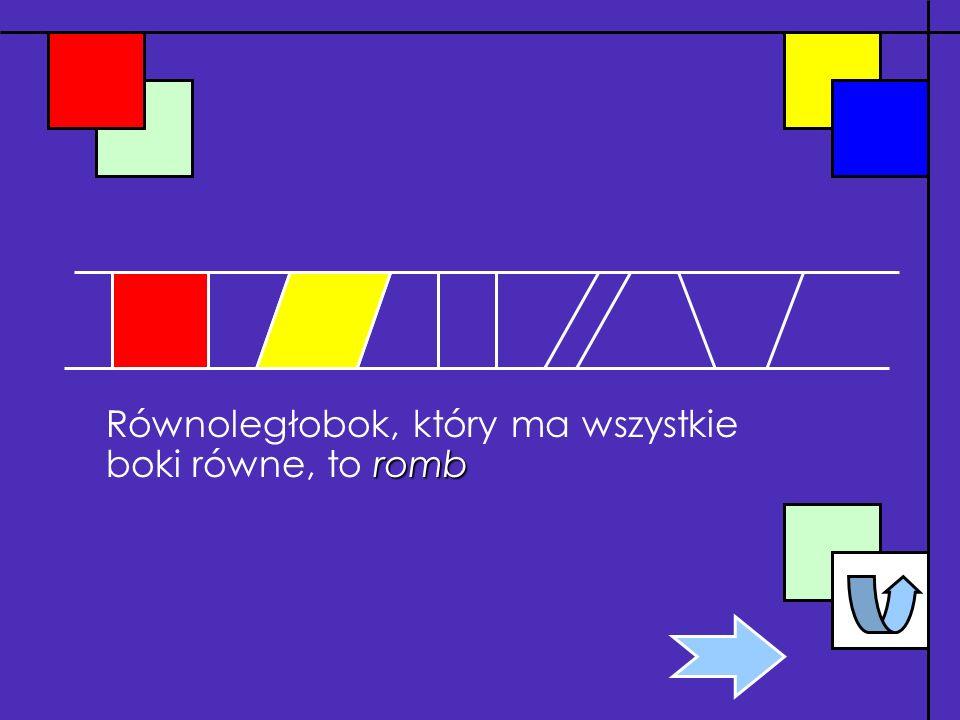 Równoległobok, który ma wszystkie boki równe, to romb