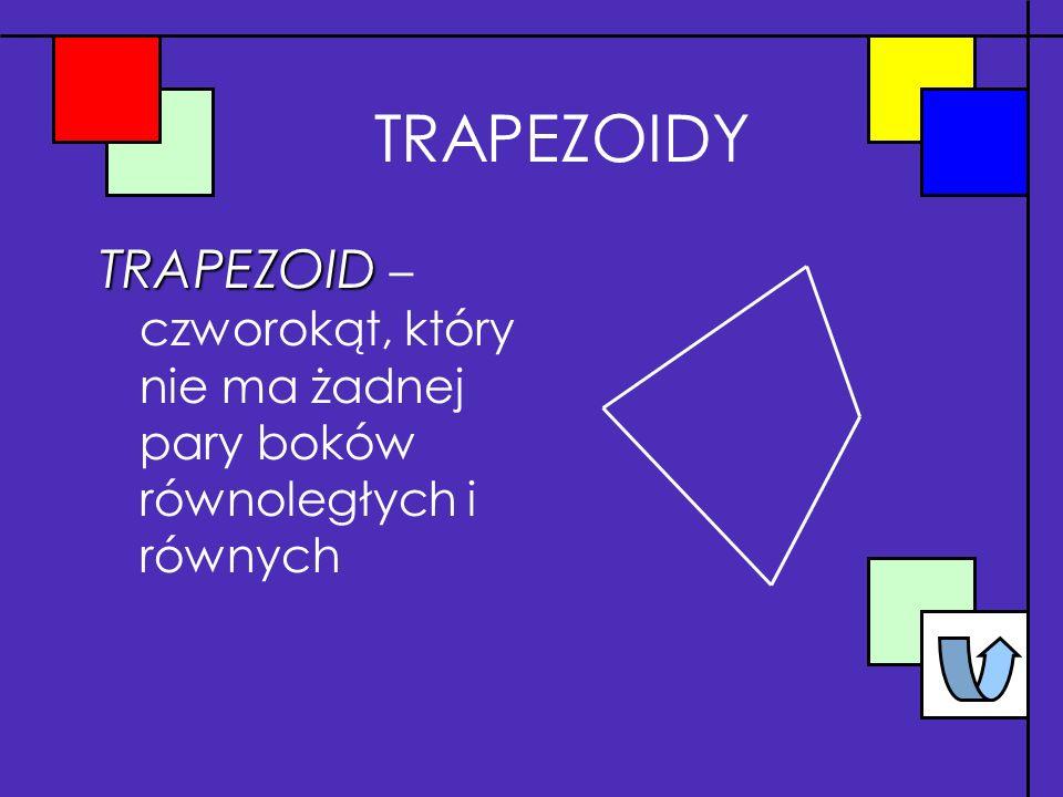 TRAPEZOIDY TRAPEZOID – czworokąt, który nie ma żadnej pary boków równoległych i równych