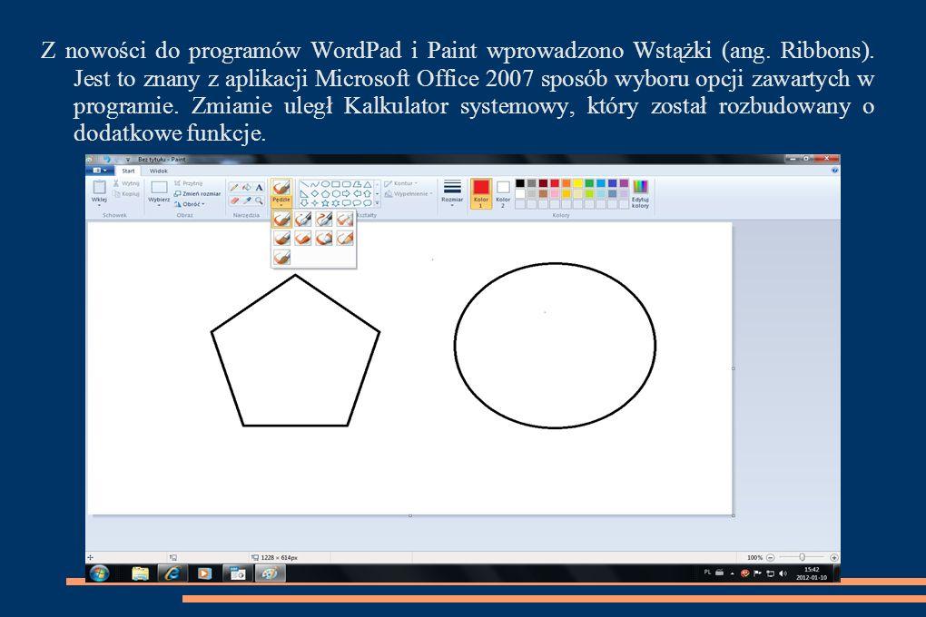 Z nowości do programów WordPad i Paint wprowadzono Wstążki (ang