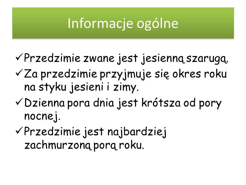 Informacje ogólne Przedzimie zwane jest jesienną szarugą.