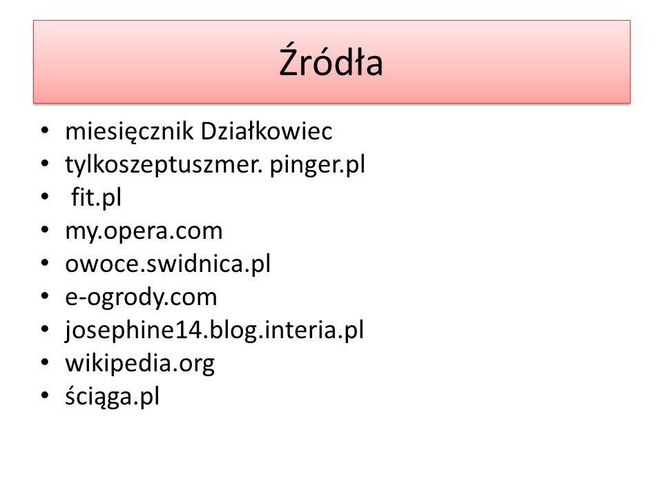 Źródła miesięcznik Działkowiec tylkoszeptuszmer. pinger.pl fit.pl