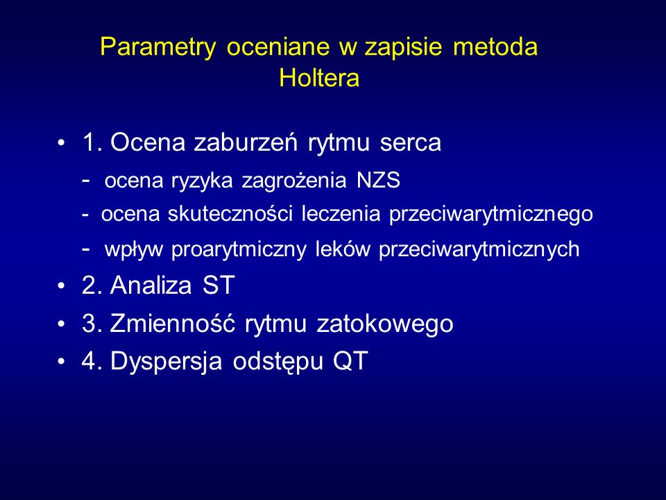 Parametry oceniane w zapisie metoda Holtera