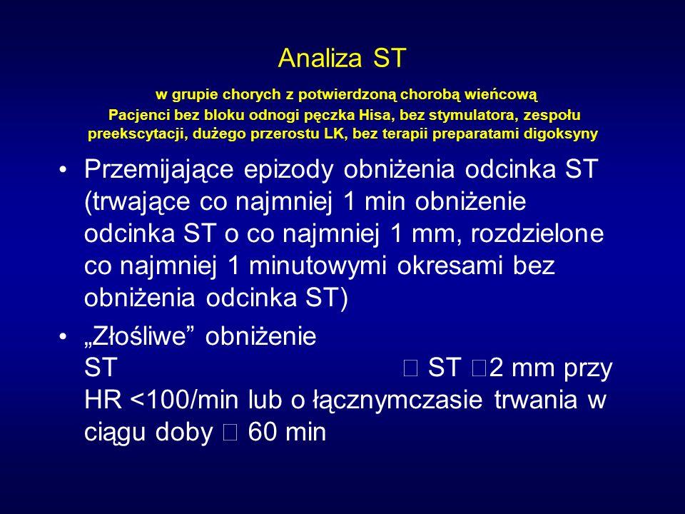 Analiza ST w grupie chorych z potwierdzoną chorobą wieńcową Pacjenci bez bloku odnogi pęczka Hisa, bez stymulatora, zespołu preekscytacji, dużego przerostu LK, bez terapii preparatami digoksyny