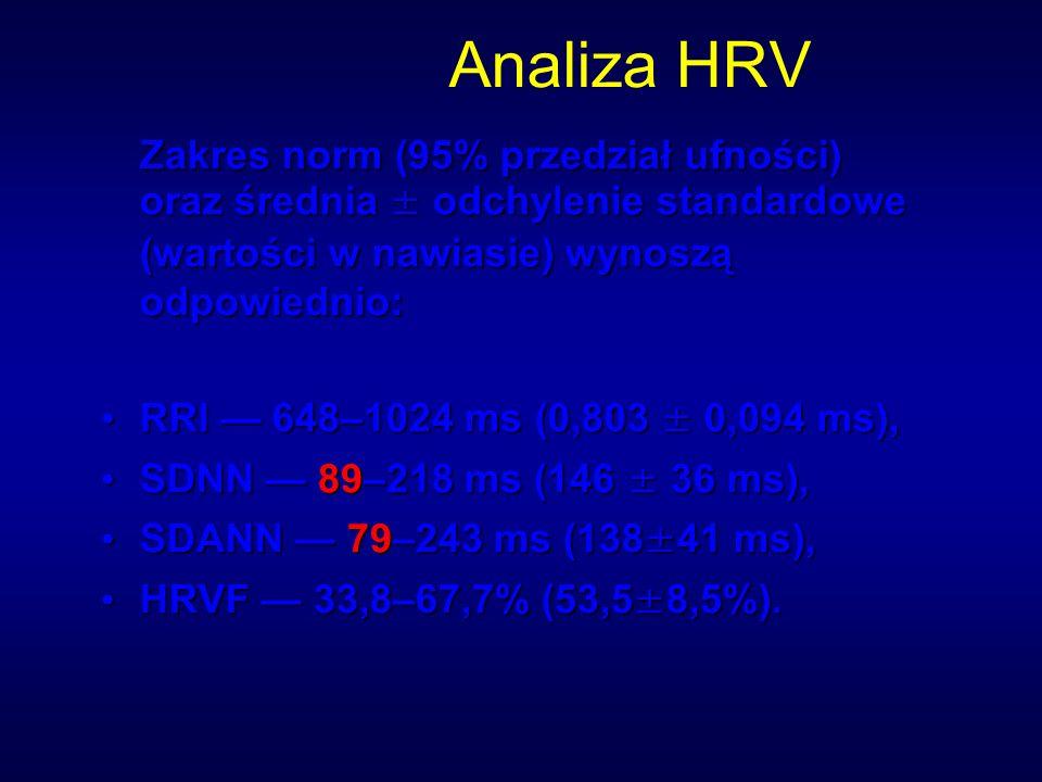Analiza HRV Zakres norm (95% przedział ufności) oraz średnia ± odchylenie standardowe (wartości w nawiasie) wynoszą odpowiednio: