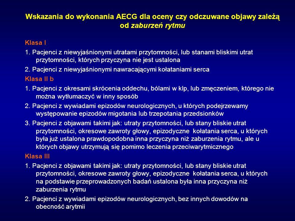 Wskazania do wykonania AECG dla oceny czy odczuwane objawy zależą od zaburzeń rytmu