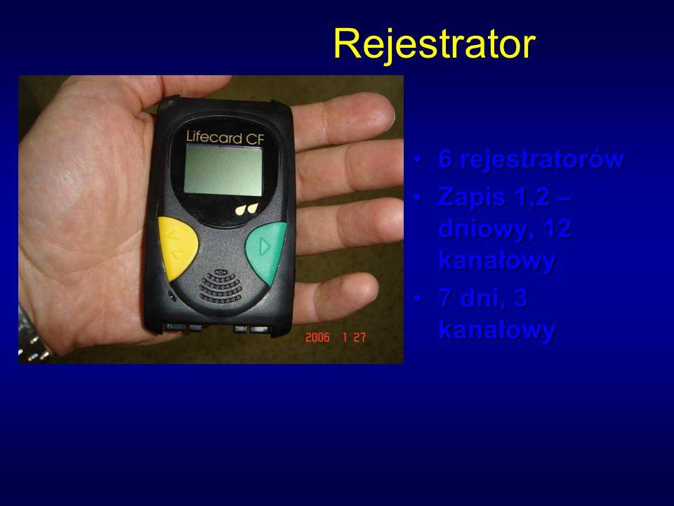 Rejestrator 6 rejestratorów Zapis 1,2 – dniowy, 12 kanałowy