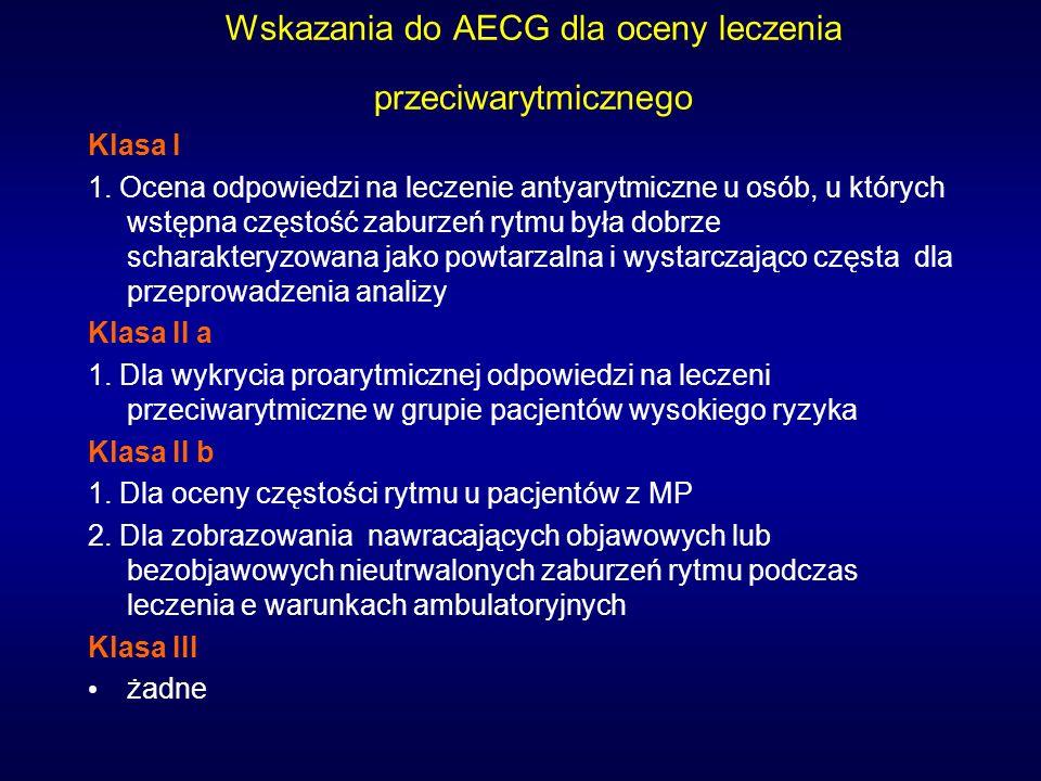 Wskazania do AECG dla oceny leczenia przeciwarytmicznego