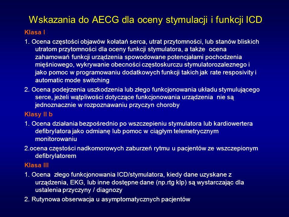 Wskazania do AECG dla oceny stymulacji i funkcji ICD