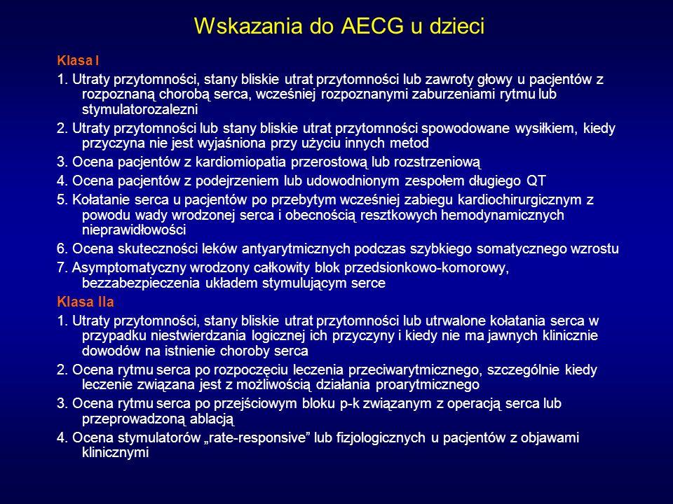 Wskazania do AECG u dzieci