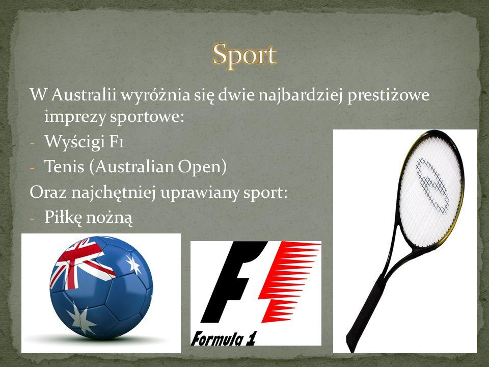 Sport W Australii wyróżnia się dwie najbardziej prestiżowe imprezy sportowe: Wyścigi F1. Tenis (Australian Open)
