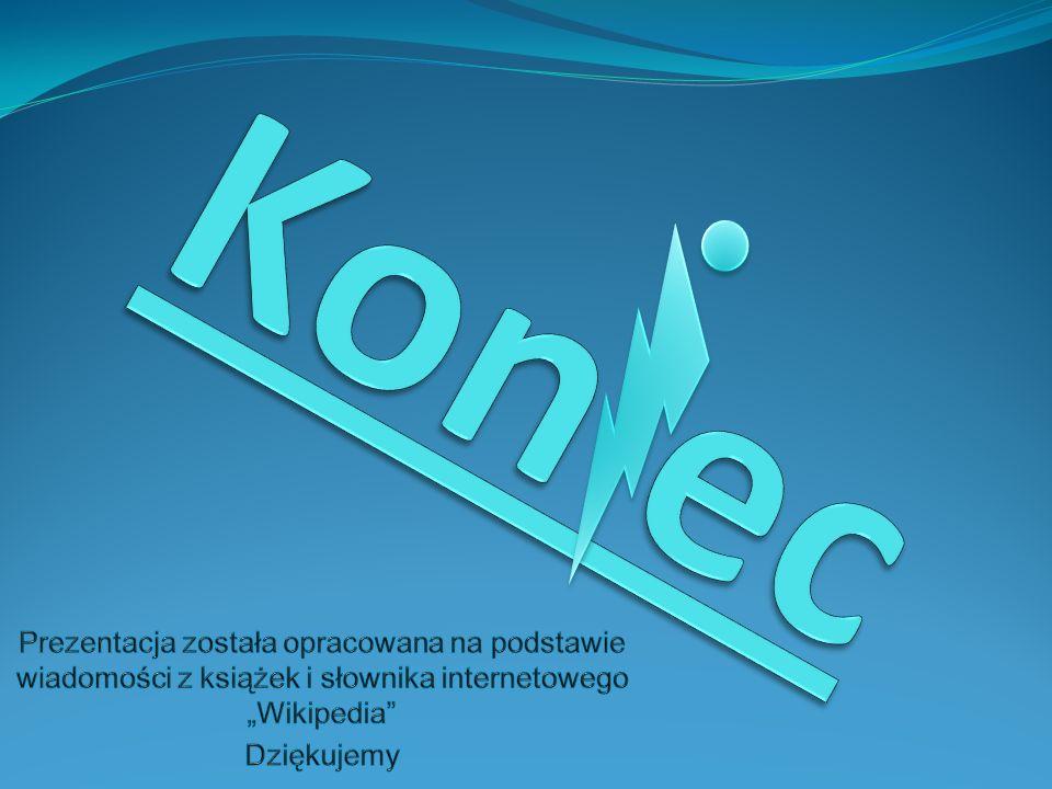 """Kon ec Prezentacja została opracowana na podstawie wiadomości z książek i słownika internetowego """"Wikipedia"""