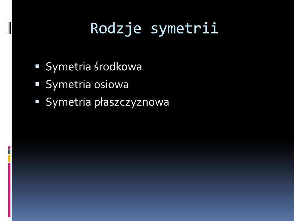 Rodzje symetrii Symetria środkowa Symetria osiowa