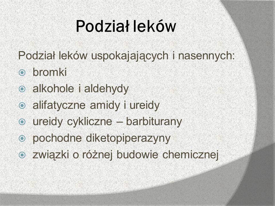 Podział leków Podział leków uspokajających i nasennych: bromki