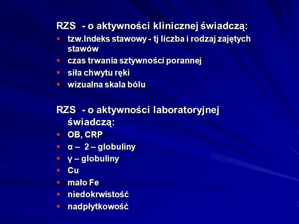 RZS - o aktywności klinicznej świadczą: