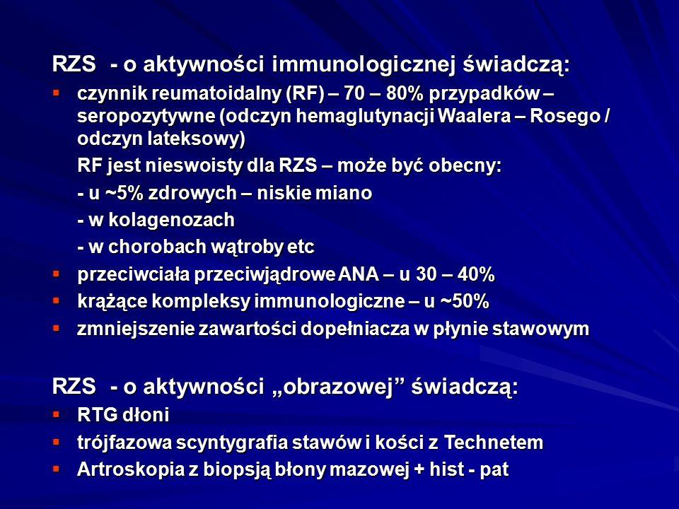 RZS - o aktywności immunologicznej świadczą: